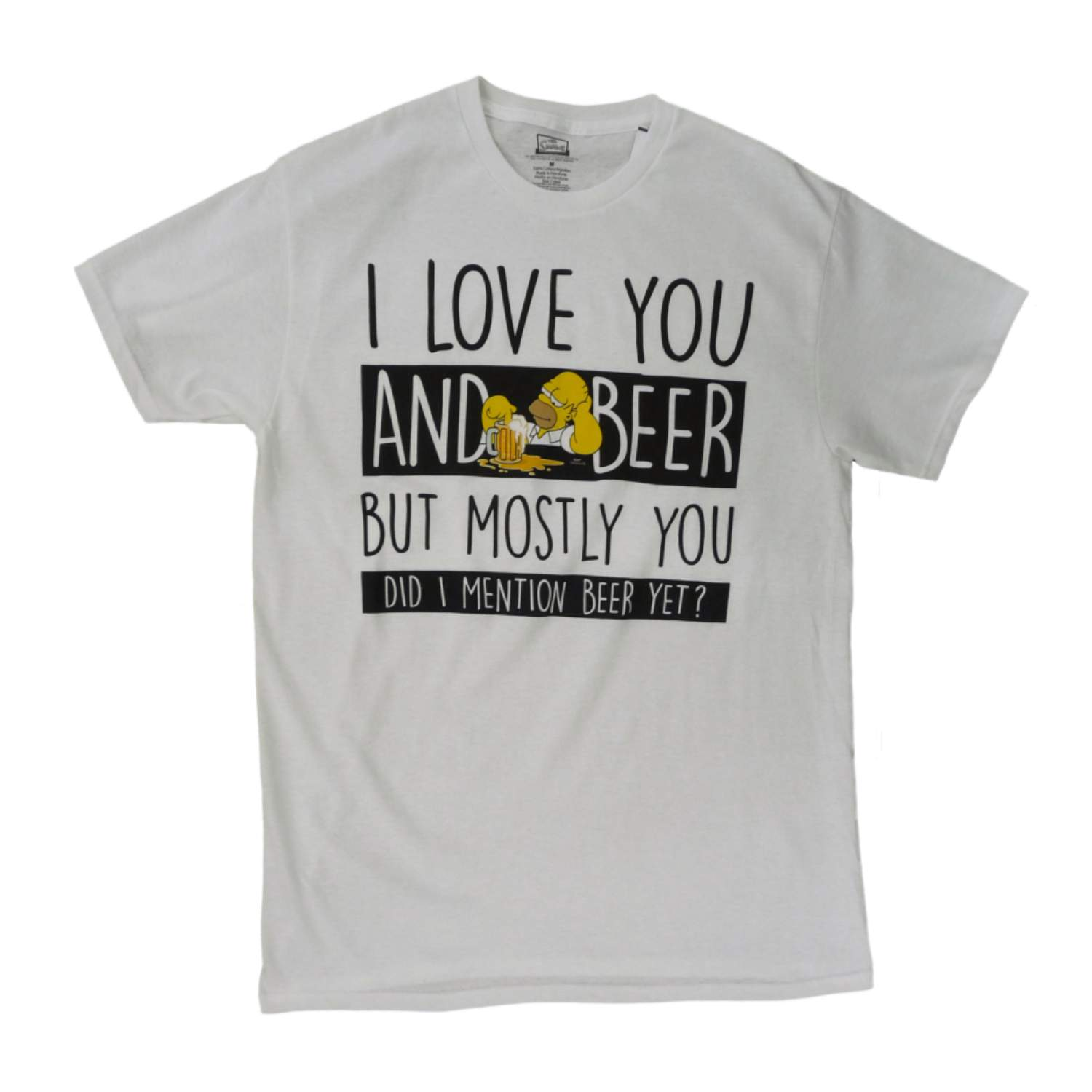 The Simpsons Mens White I Love You & Beer Homer T-Shirt