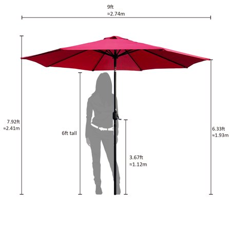 Abble 9 Feet Crank and Tilt Market Umbrella-Red