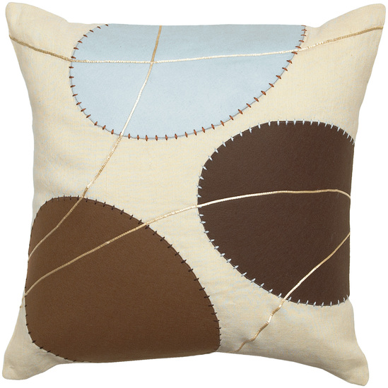 """18"""" Planetary Trio Ivory, Brown and Blue Decorative Square Throw Pillow"""