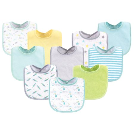 Luvable Friends Baby Boy and Girl Drooler Bibs, 10 Pack, Neutral Elephant/Stars Pink Elephant Baby Bib