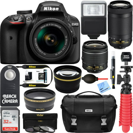 Nikon D3400 24.2 MP DSLR Camera + AF-P DX 18-55mm & 70-300mm NIKKOR Zoom Lens Kit + 32GB Memory Bundle + Nikon Bag + Wide Angle Lens + 2x Telephoto Lens + Flash + Remote +Tripod+Filters (Black)