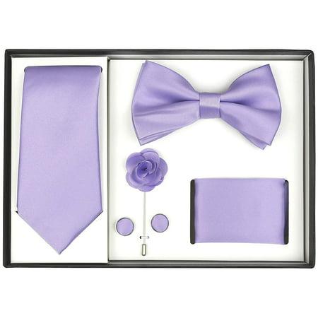 Berlioni Men's Handmade Microfiber Tie Bowtie Lapel Hanky Cufflinks Gift Box Set (Lilac)
