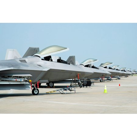 Line-up of US Air Force F-22A Raptors at Langley Air Force Base Virginia Poster Print by Riccardo NiccoliStocktrek -