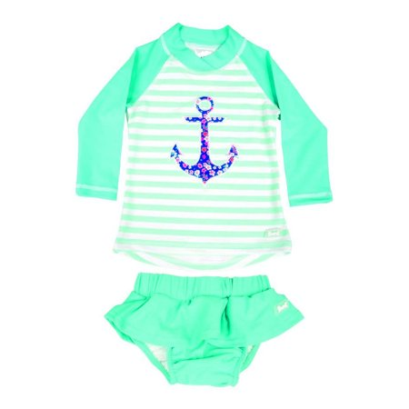 Baby Banz Long Sleeved Two-Piece Girls Swimsuit - Anchor (Size 2) - image 1 of 1