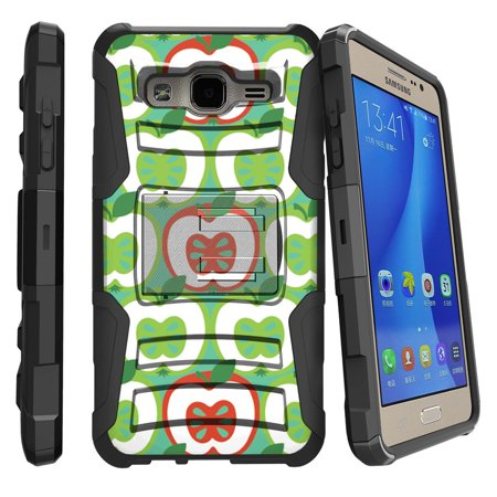 Samsung Galaxy On5 G550 Miniturtle® Clip Armor Dual Layer Case Rugged Exterior with Built in Kickstand + Holster - Green Red