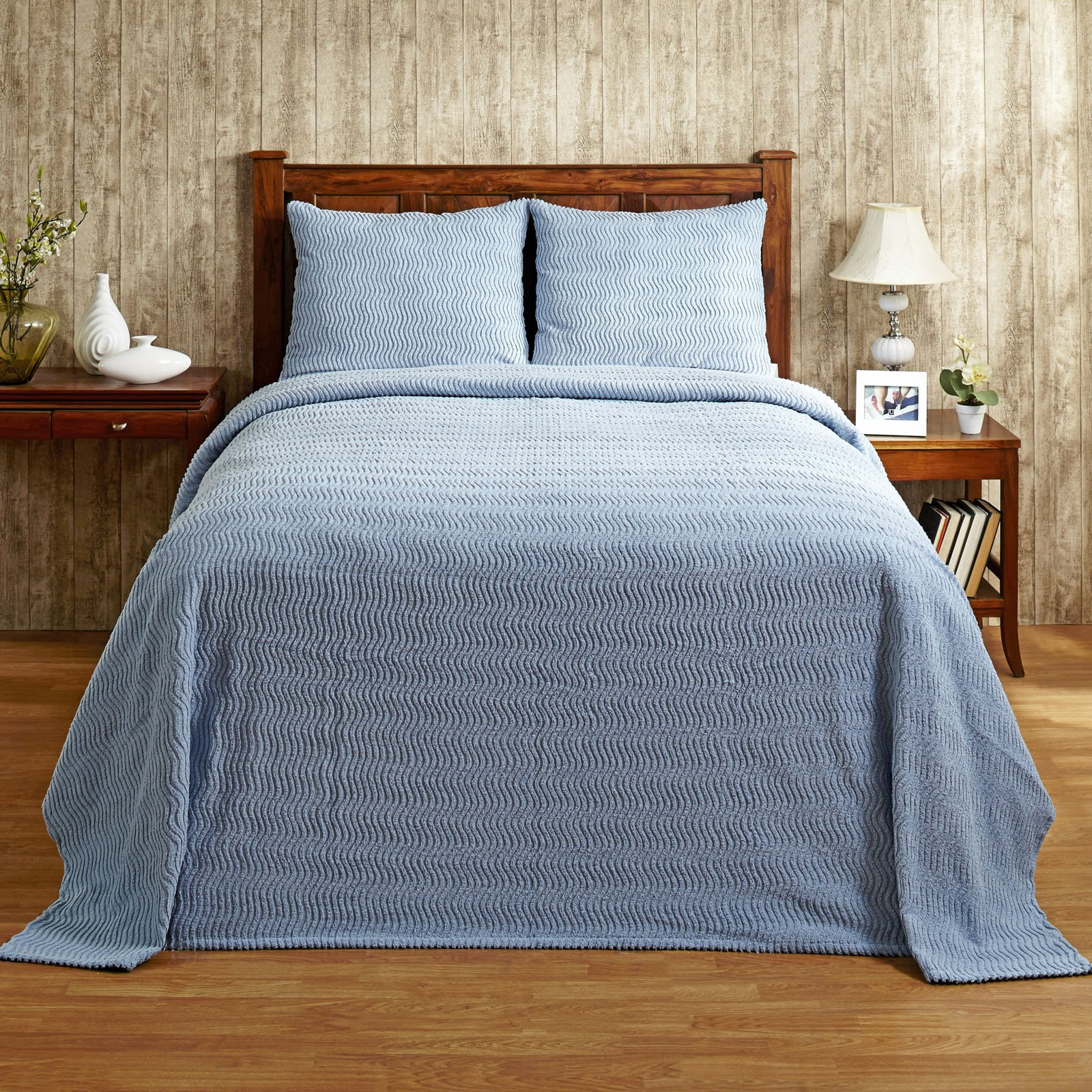 "Natick Chenille Bedspread, 81""X110""/Twin, Blue"