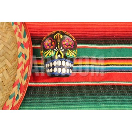 Fiesta Mexican Poncho Rug in Bright Colors with Sombrero Candy Skull Background with Copy Space Print Wall Art By - Poncho And Sombrero