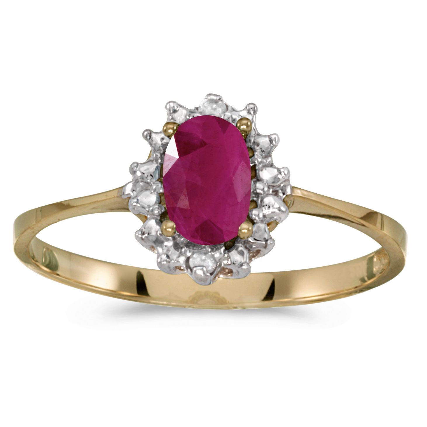 10k Yellow Gold Oval Ruby And Diamond Ring by