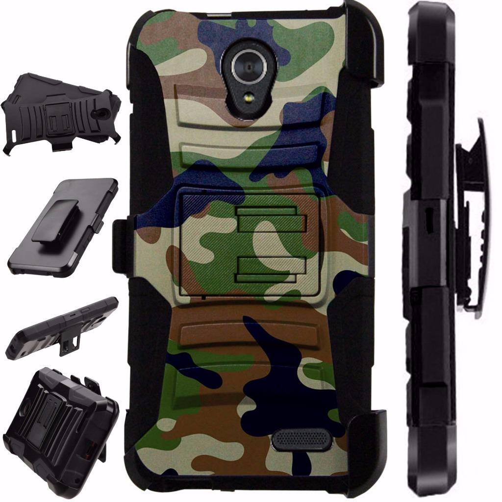 For ZTE Prestige 2 Case / ZTE ZFive 2 Case Heavy Duty Phone Case Hybrid Armor Cover Kick Stand Rugged LuxGuard Holster (Green Brown Camo)