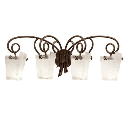 Bathroom Vanity 4 Light With Tortoise Shell Finish Side Small Frost Glass Medium Base Bulb 34 inch 400 Watts