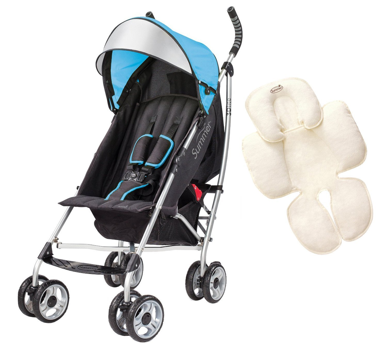 Summer Infant 3D Lite Convenience Stroller with Snuzzler Head & Body Support, Blue