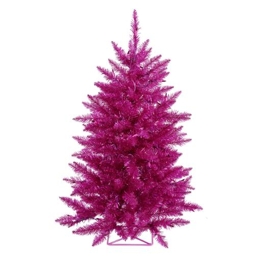 3' Pre-Lit Sparkling Fuschia Artificial Christmas Tree - Pink Lights