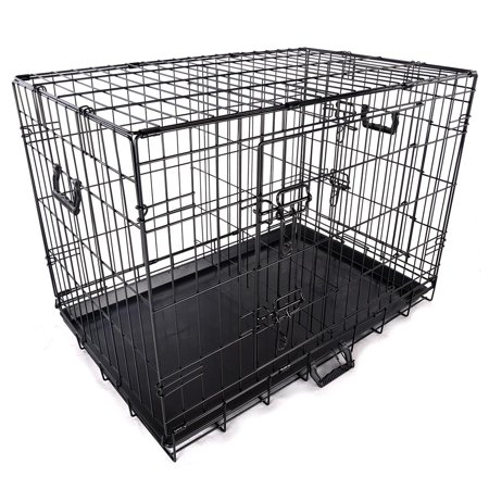 Yescom 30 Quot 2 Doors Foldable Metal Wire Dog Crate Tray