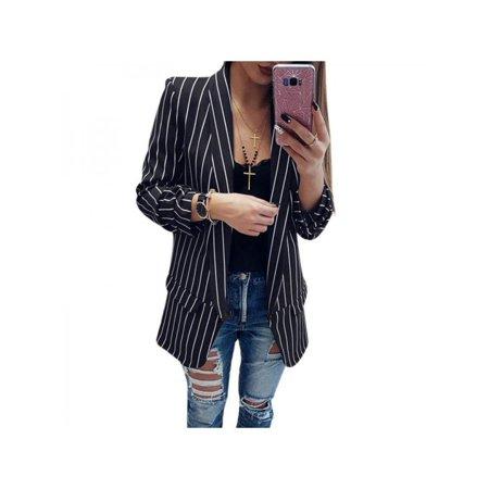 Black Blazer Jacket Coat (SWEETSMILE Women's Spring Summer Fashion Black and White Striped Cardigan Long Sleeve Loose Blazer Jacket Coat )