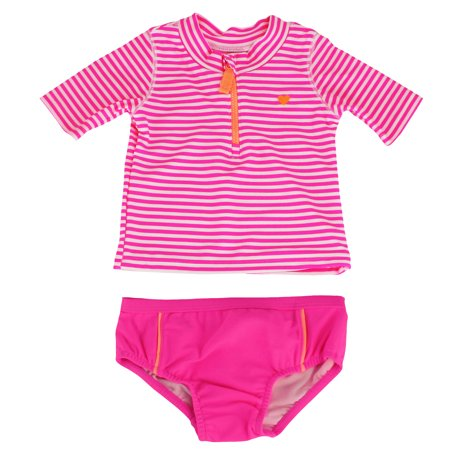 Carter's Pink Stripe Short Sleeve Rash Guard Set Girls Swimsuits 12M