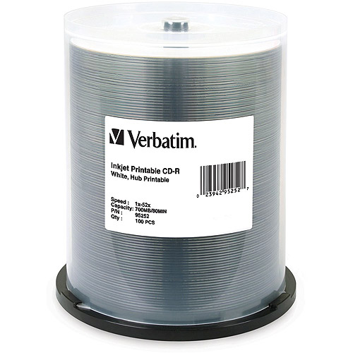 Verbatim CD-R 80 Min/700MB 52x White Inkjet Hub Printable Spindle, 100pk