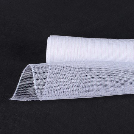 White Iridescent Line  - Deco Mesh Wrap Metallic Stripes -  ( 21 Inch x 10 Yards )