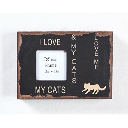 Attraction Design I Love My Cats Wood Chunky Frame, 5.25