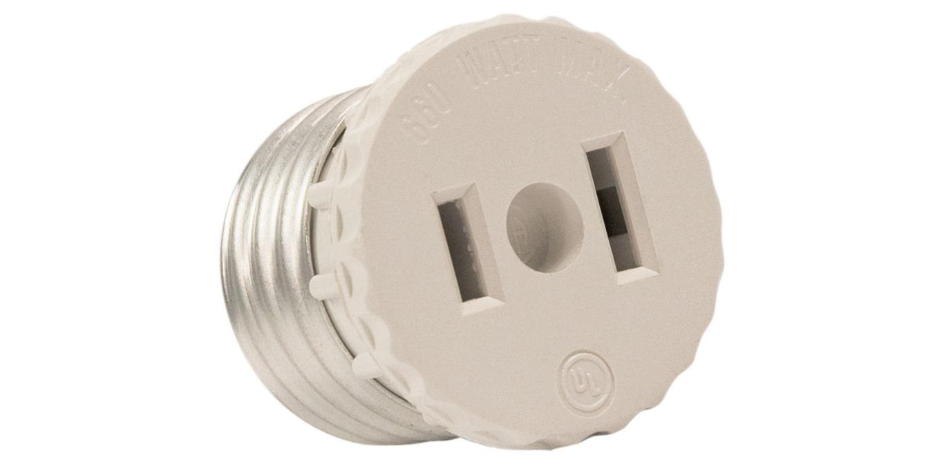 Leviton 125 15 Amp, 660 Watt, 125 Volt, 2-Pole, 2-Wire, Socket To Outlet Adapter by Leviton