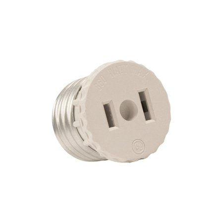 (Leviton 125 15 Amp, 660 Watt, 125 Volt, 2-Pole, 2-Wire, Socket To Outlet Adapter)