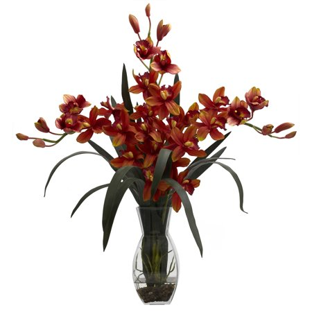 Nearly Natural Triple Cymbidium w/Vase Floral Arrangement