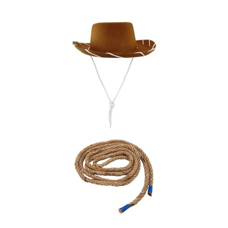 Cowgirl Hats For Kids (Child Cowboy Cowgirl Brown Hat And Rope Jessie Woody Western Costume)
