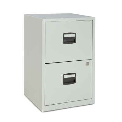 Bisley Two Drawer Steel Home Filing Cabinet, Light Gray BDSFILE2LG by