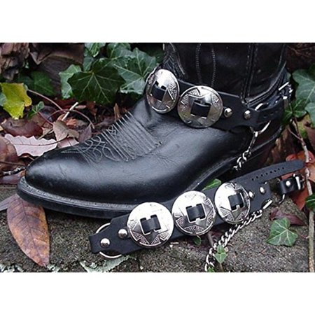 Western Boots Boot Chains Black Topgrain Cowhide Leather W 3 Big Silver Conchos
