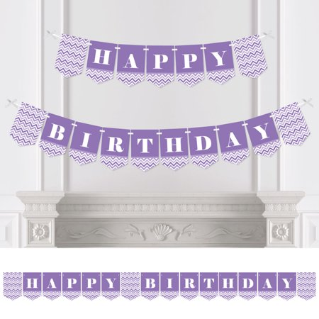Chevron Birthday Decorations (Chevron Purple - Birthday Party Bunting Banner - Purple Party Decorations - Happy)