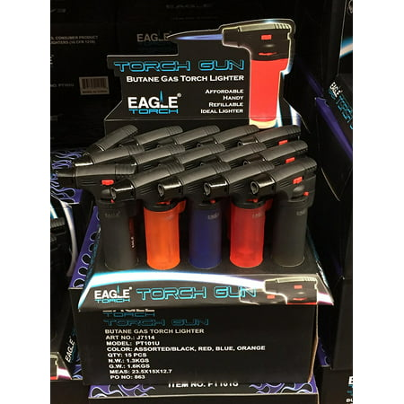 Windproof Butane Jet Lighter - Eagle Jet Torch Gun Lighter Adjustable Flame Windproof Butane Refillable Handy (Red) by Eagle