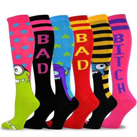 Leopard Knee High Socks - TeeHee Novelty Cotton Knee High Fun Socks 6-Pack for Women