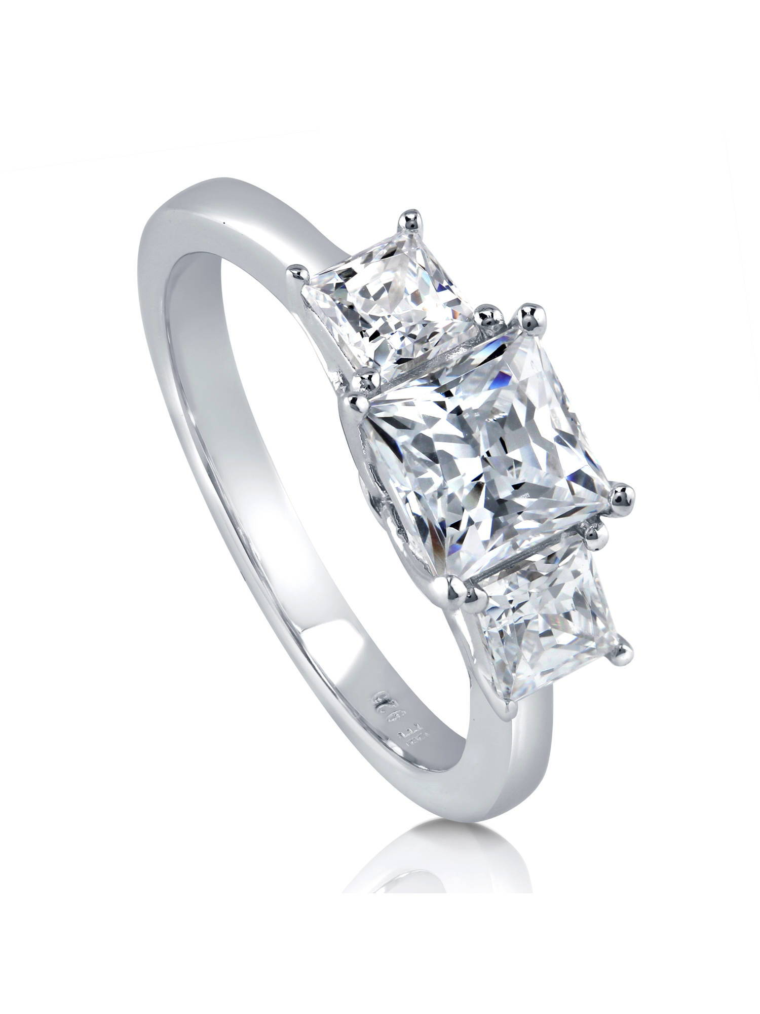 Rhodium Plated Sterling Silver 3-Stone Promise Ring Made with Swarovski Zirconia Size 10.5