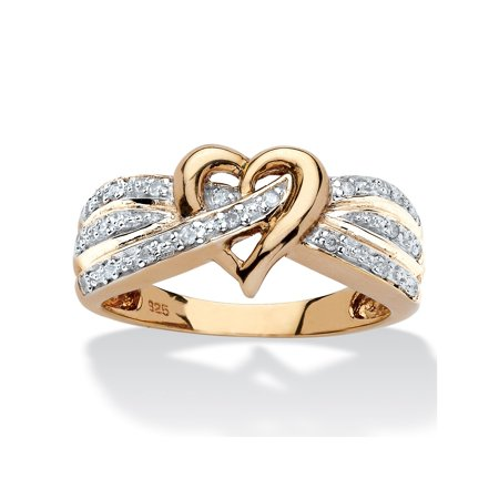 1/10 TCW Round Diamond Crossover Heart Ring in 18k Yellow Gold over Sterling - Sterling Silver Crossover Ring