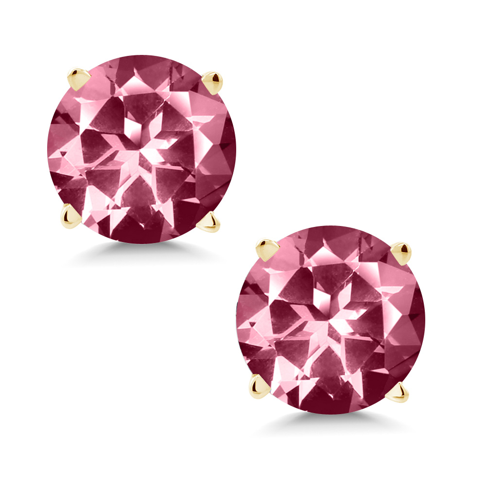 14K Yellow Gold Earrings Set with Round Pink Topaz from Swarovski by