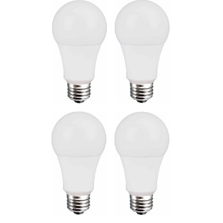 (4 Pack) Great Value LED Light Bulb, 9W (60W Equivalent), Soft White,  1-count