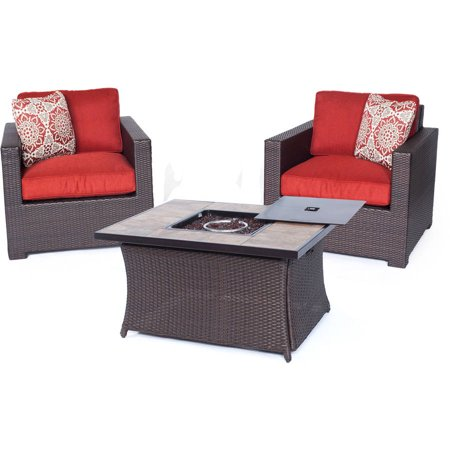 Hanover Metropolitan 3 Piece Woven Fire Pit Chat Set With Faux Stone Tile Top