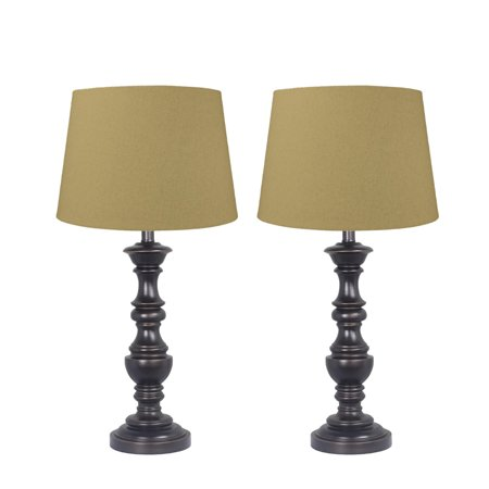 Essex Turned Table Lamp Set of 2 Antique Bronze Finish with Sand Linen Shade ()