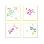 FunDeco Flowers and Butterflies 4 Piece Wall Art Set