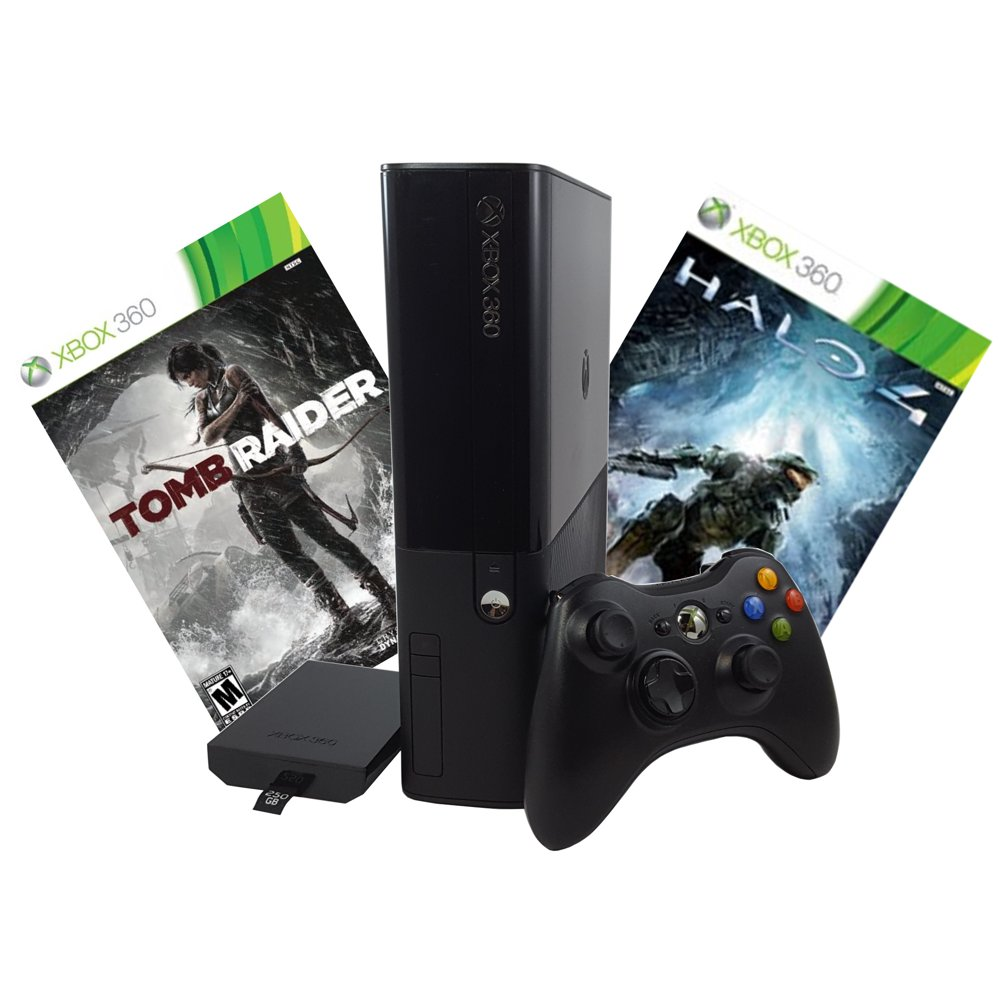 Refurbished Xbox 360 E 250GB Console with Tomb Raider, Halo 4, and Controller