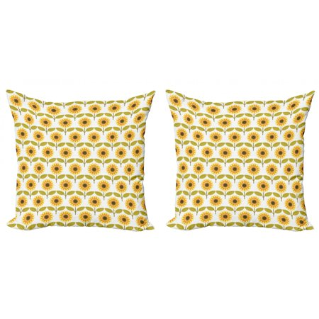 Sunflower Throw Pillow Cushion Cover Pack of 2, Sunflowers Pattern Autumn Season Country Style Retro Illustration Print, Zippered Double-Side Digital Print, 4 Sizes, Yellow White Green, by Ambesonne