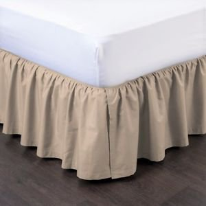 Full Taupe Pleated Dust Ruffled Bed Skirt Bedding Bed Dressing with Split/Open Corners and Easy Fit 14