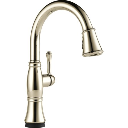 Pn Single Handle - Delta Cassidy Single Handle Pull-Down Kitchen Faucet with Touch2O and ShieldSpray Technologies, Polished Nickel