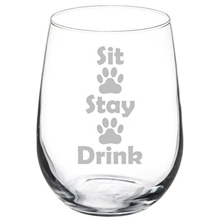 Wine Lovers Collection (Wine Glass Goblet Funny Dog Cat Animal Lover Sit Stay Drink Paw Prints (17 oz Stemless) )