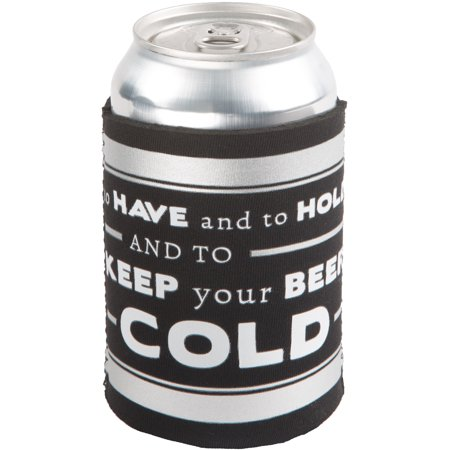 Pavilion - To Have and to Hold and to Keep your Beer Cold Black and Silver Wedding Insulated Beer Bottle / Beer Can (Wedding Koozies To Have And To Hold)