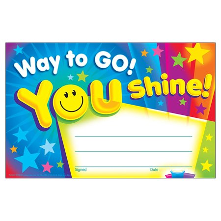 TREND enterprises, Inc. Way to Go! You Shine! Recognition Awards, 30 ct, Recognition Awards celebrate kids' everyday accomplishments and big moments of.., By Trend Enterprises Inc - Trendy Day
