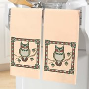 Herrschners  Woodland Owl Towel Pair Stamped Cross-Stitch