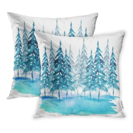 ECCOT Watercolor Group of Trees Fir Pine Cedar Blue Winter Forest Landscape Drawing Pillowcase Pillow Cover 16x16 inch Set of 2