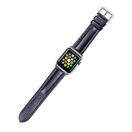 Apple Watch Strap - Breitling Style Oil Tanned Leather Watch Band - Black - Fits 38mm Series 1 & 2 Apple Watch [Black Adapters] Breitling Black Wrist Watch