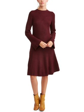 product image womens bell sleeve fluted sweater dress