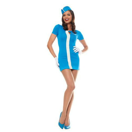 Costume Culture Women's Mod Flight Attendant Costume - Blue - Large - Costumes And More